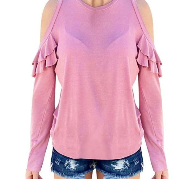 Tops - *NEW* Pink Ruffle off the Shoulder Top